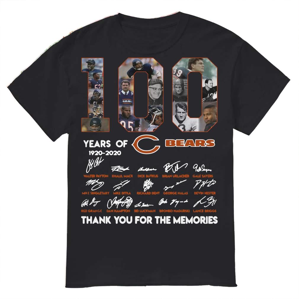 100 Years Of 19202020 Chicago Bears Signatures Shirt