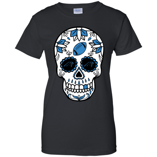 Carolina Panthers Football Sugar Skull Day Of The Dead T Shirt For Women