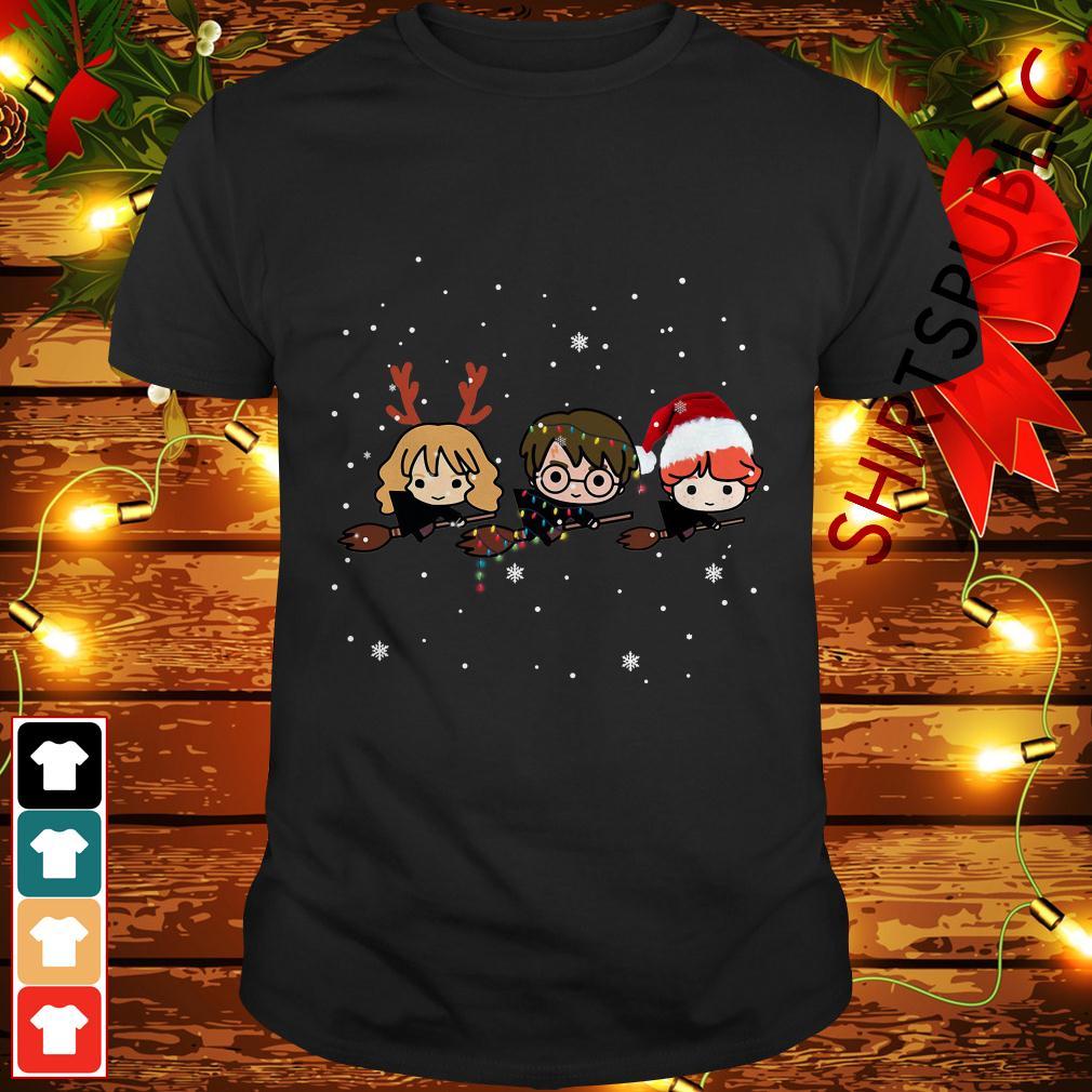 Christmas Harry Potter Chibi Riding Broom Shirt