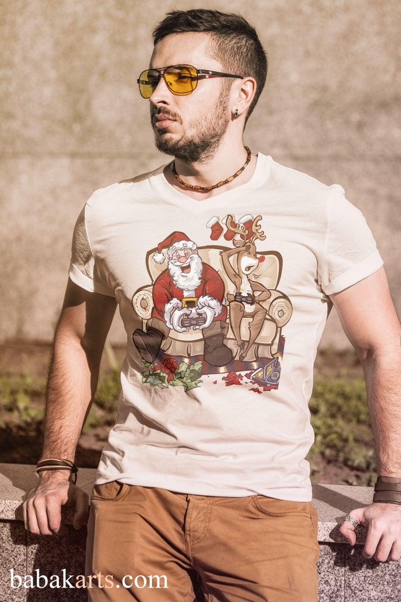 Christmas Santa With Play Station Xmas Santa Vs Reindeer Xmas Funny Design T Shirt