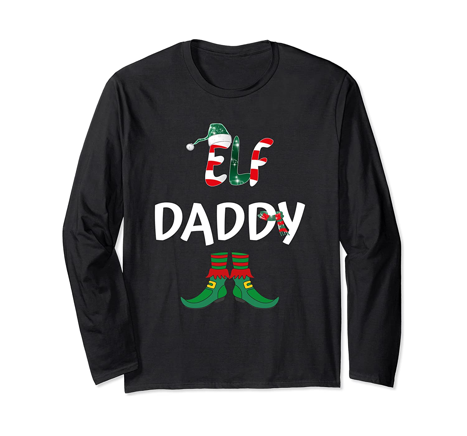 Daddy Elf Christmas Matching Family Outfit Dad Xmas Gift Long Sleeve T Shirt