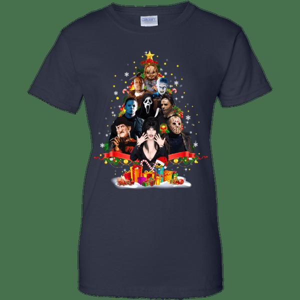Horrors Christmas Tree G200l Navy Ladies Cotton Tshirt