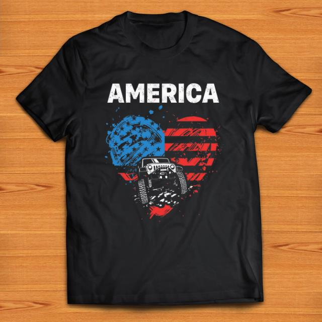 Nice Jeep Car America Flag Heart Shirt