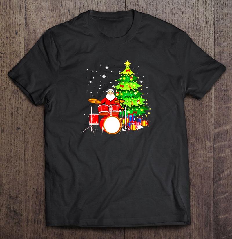 Santa Playing Drums Christmas T Shirt