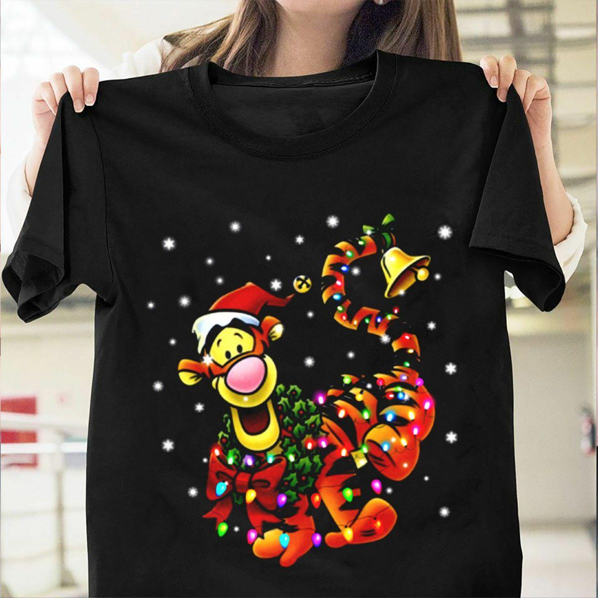 Santa Tigger Winnie The Pooh Christmas Light T Shirt Black Cotton Men S 6xl Hot