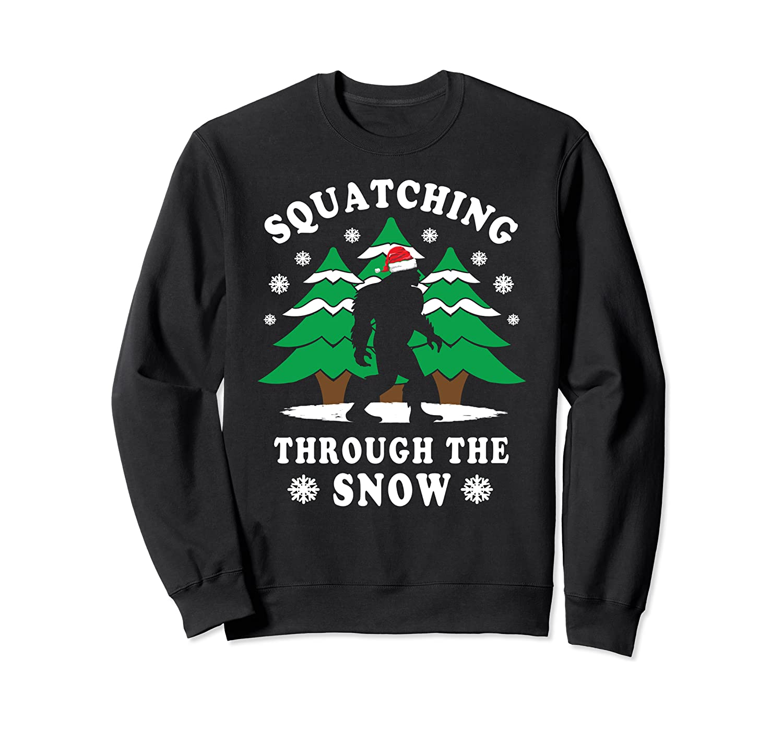 Squatching Through Snow Bigfoot Christmas Sweatshirt