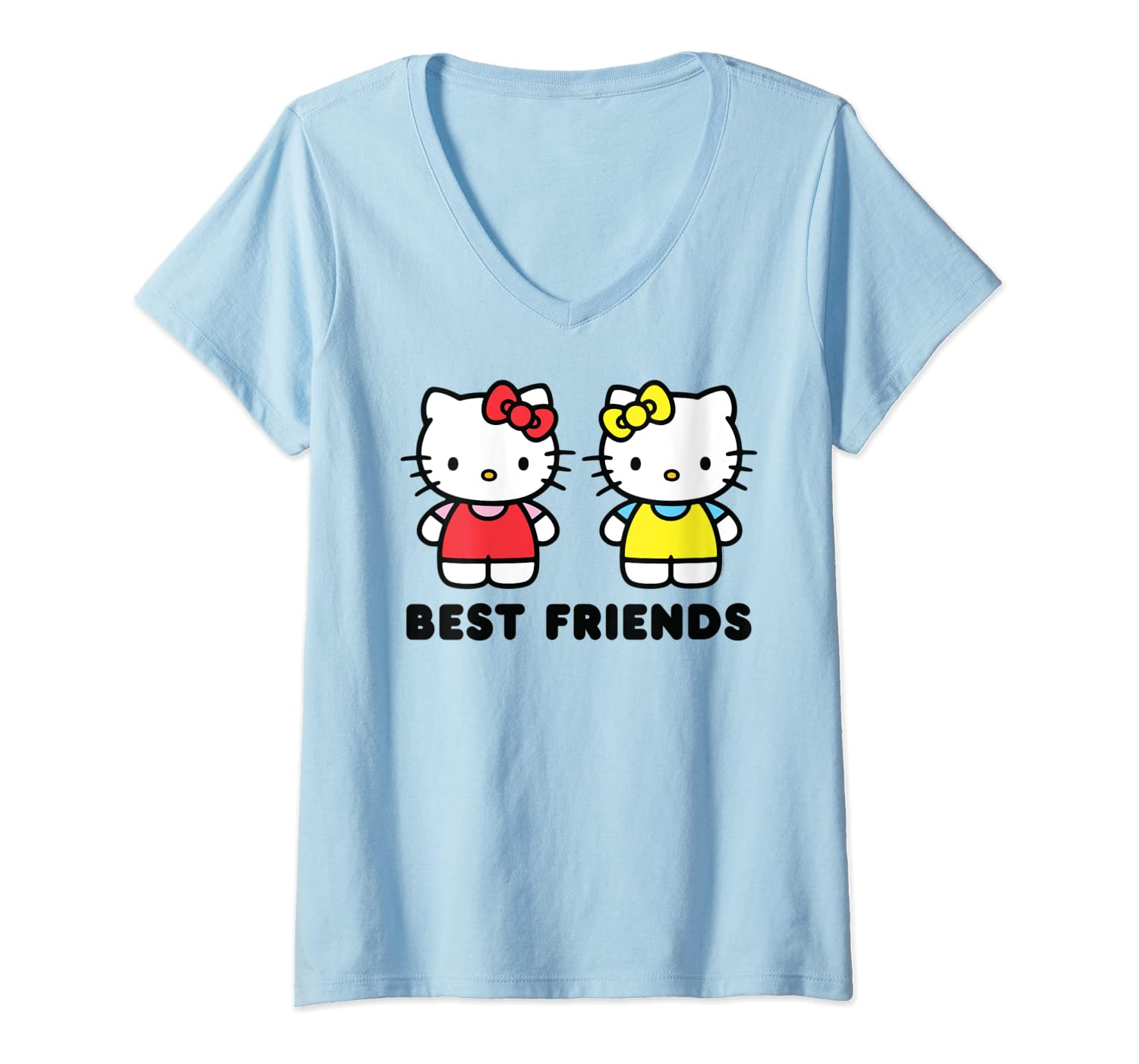 Womens Hello Kitty And Mimmy Best Friends Sisters Twins V Neck T Shirt
